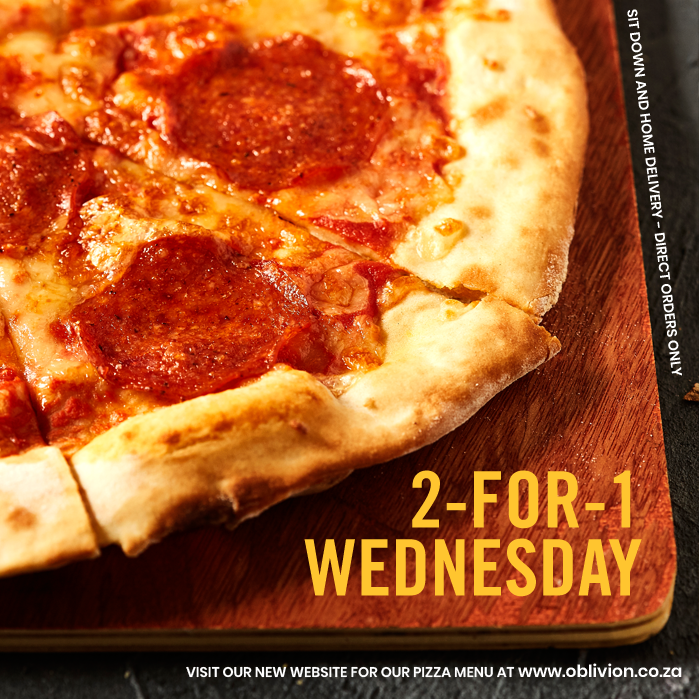 Today, for sit down and direct orders, get 2 pizzas for the price of 1.